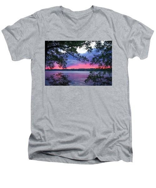 Sunset Over Lake Cherokee Men's V-Neck T-Shirt