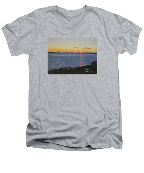 Sunset Over Mackinac Bridge In Mi Men's V-Neck T-Shirt