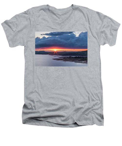 Men's V-Neck T-Shirt featuring the photograph Sunset Over Millerton Lake  by Vincent Bonafede