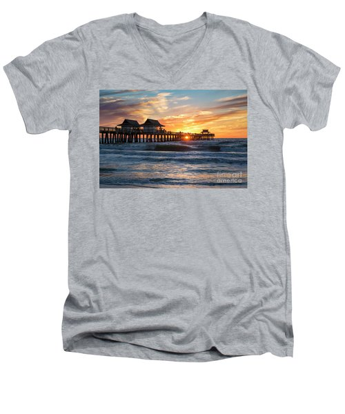 Men's V-Neck T-Shirt featuring the photograph Sunset Over Naples Pier by Brian Jannsen