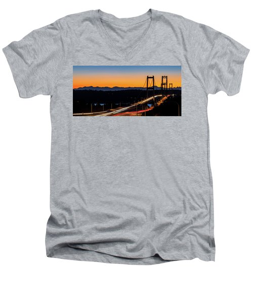 Sunset Over Narrrows Bridge Panorama Men's V-Neck T-Shirt by Rob Green