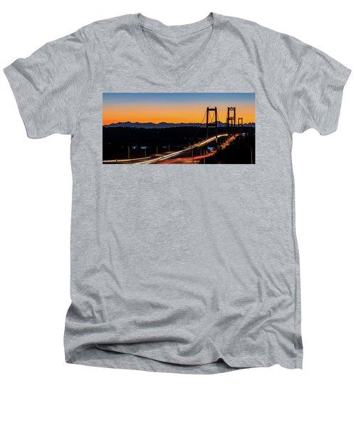 Sunset Over Narrrows Bridge Panorama Men's V-Neck T-Shirt