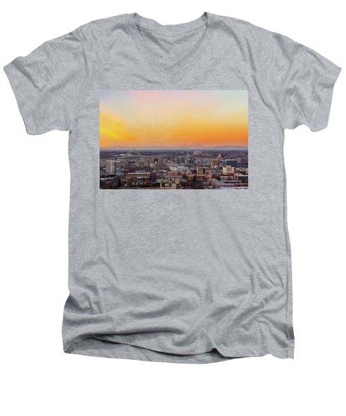 Sunset Over Portland Cityscape And Mt Saint Helens Men's V-Neck T-Shirt