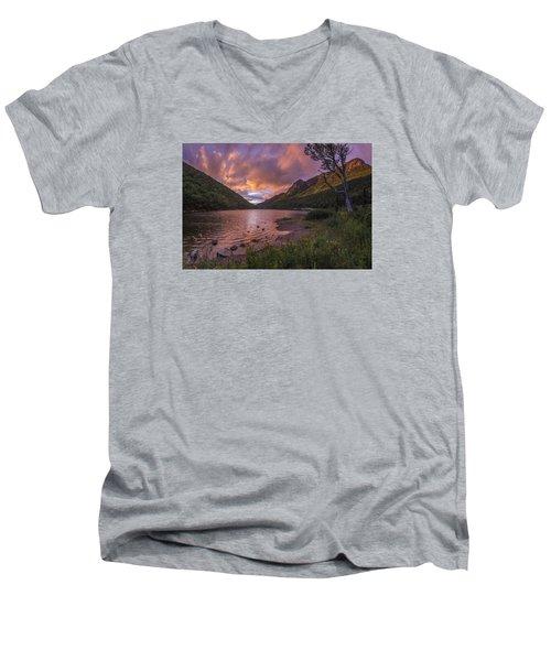 Sunset Over Profile Lake Men's V-Neck T-Shirt