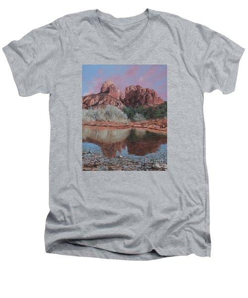 Sunset Over Red Rocks Of Sedona  Men's V-Neck T-Shirt by Barbara Barber