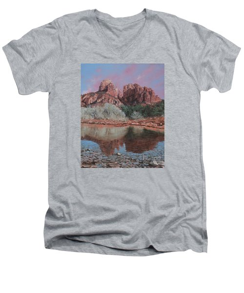Sunset Over Red Rocks Of Sedona  Men's V-Neck T-Shirt