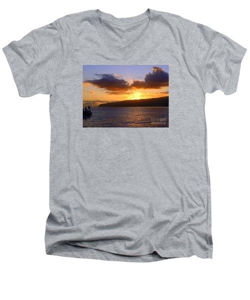 Sunset Over Reunion Island Men's V-Neck T-Shirt by John Potts