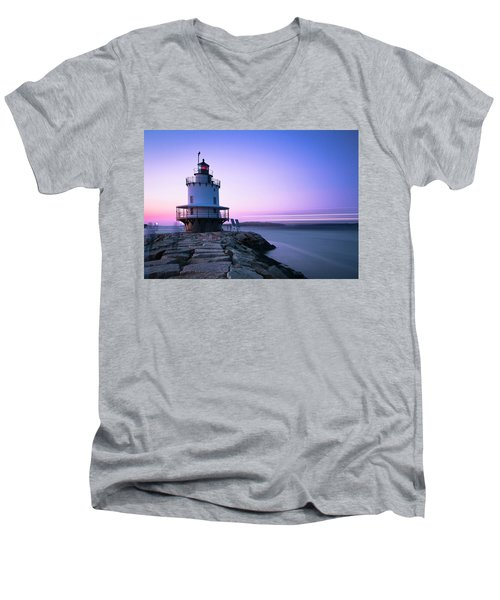 Sunset Over Spring Breakwater Lighthouse In South Maine Men's V-Neck T-Shirt