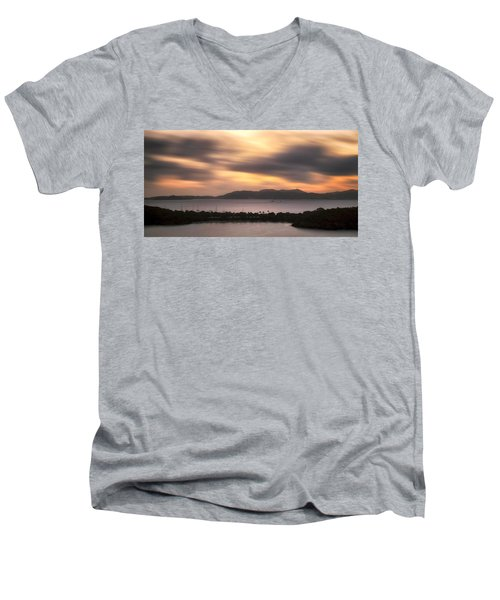 Men's V-Neck T-Shirt featuring the photograph Sunset Over St. John And St. Thomas Panoramic by Adam Romanowicz