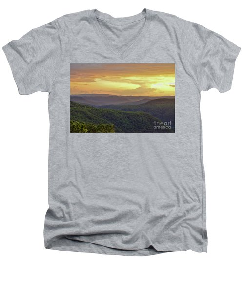 Men's V-Neck T-Shirt featuring the photograph Sunset Over The Bluestone Gorge - Pipestem State Park by Kerri Farley