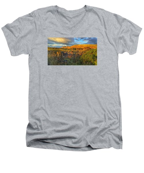 Men's V-Neck T-Shirt featuring the photograph Sunset Over The Campsie Fells by RKAB Works