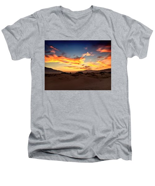 Sunset Over The Desert Men's V-Neck T-Shirt by Chris Tarpening