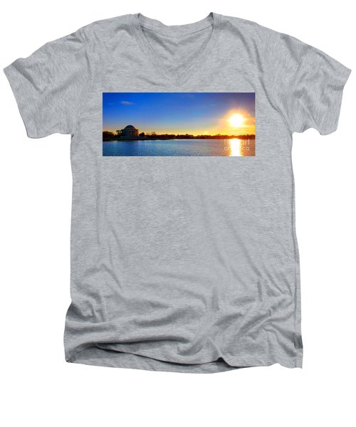 Sunset Over The Jefferson Memorial  Men's V-Neck T-Shirt