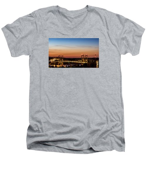 Sunset Over The Tacoma Narrows Bridges Men's V-Neck T-Shirt by Rob Green