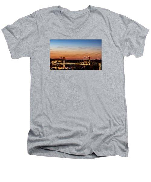 Sunset Over The Tacoma Narrows Bridges Men's V-Neck T-Shirt