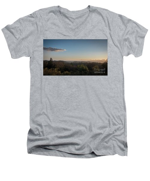 Sunset Over Top Of Dense Forest Men's V-Neck T-Shirt