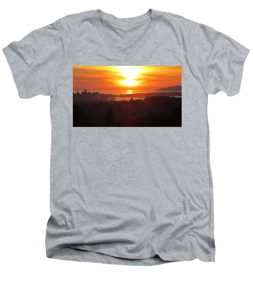Sunset Over Vancouver Men's V-Neck T-Shirt
