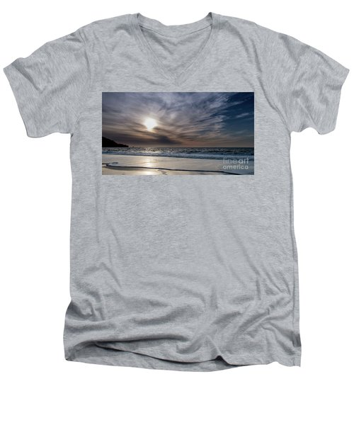 Sunset Over West Coast Beach With Silk Clouds In The Sky Men's V-Neck T-Shirt