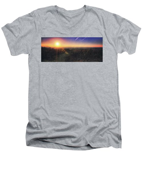 Men's V-Neck T-Shirt featuring the photograph Sunset Over Wisconsin Treetops At Lapham Peak  by Jennifer Rondinelli Reilly - Fine Art Photography