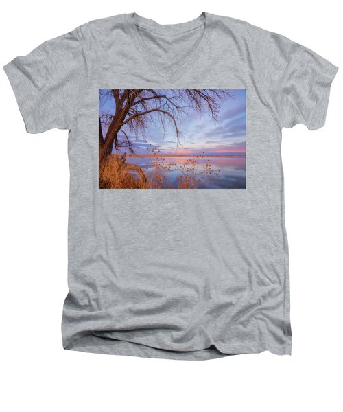 Men's V-Neck T-Shirt featuring the photograph Sunset Overhang by Darren White