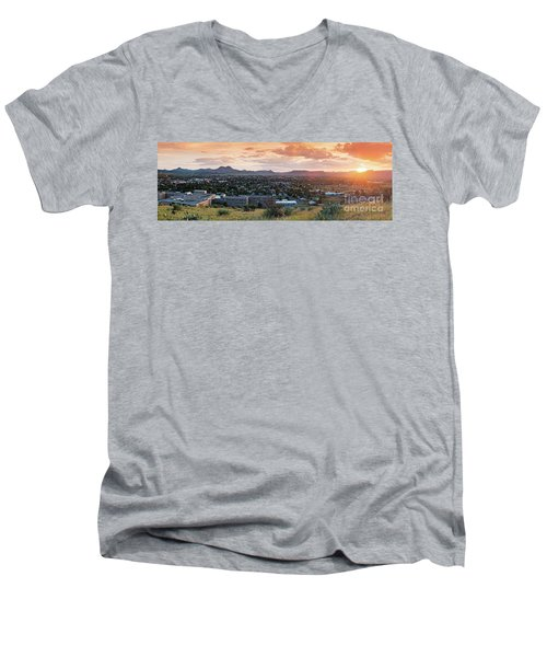 Sunset Panorama Of Alpine And Sul Ross State University - Brewster County - Far West Texas Men's V-Neck T-Shirt