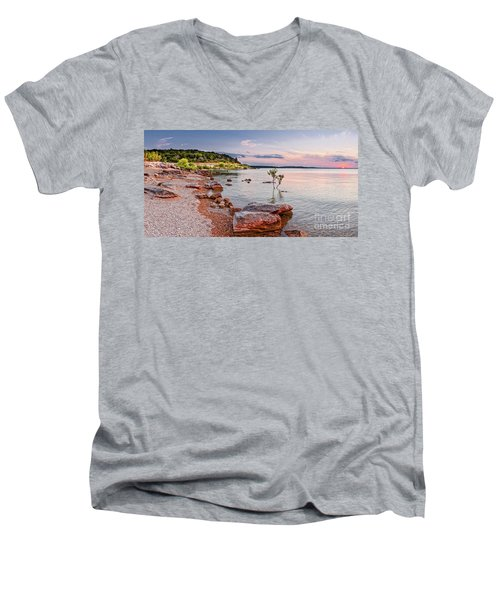 Sunset Panorama Of Canyon Lake East Shore New Braunfels Guadalupe River Texas Hill Country Men's V-Neck T-Shirt