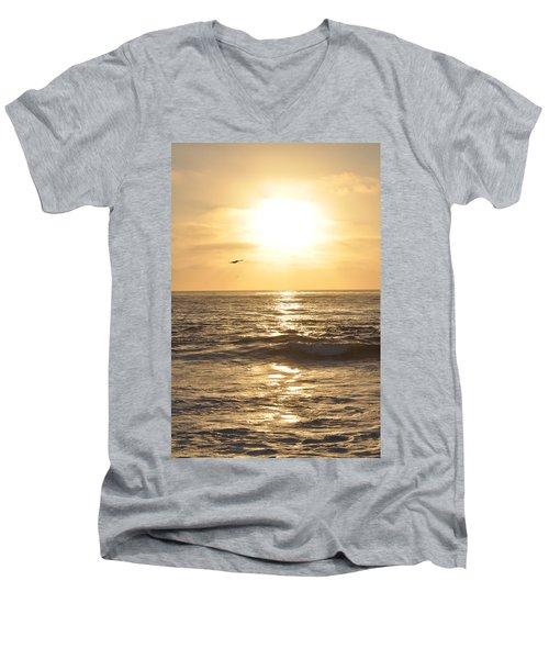 Sunset Pelican Silhouette Men's V-Neck T-Shirt