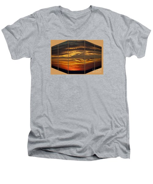 Men's V-Neck T-Shirt featuring the photograph Sunset Perspective by Shirley Mangini