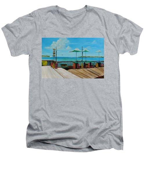 Sunset Pier Tiki Bar - Key West Florida Men's V-Neck T-Shirt by Lloyd Dobson