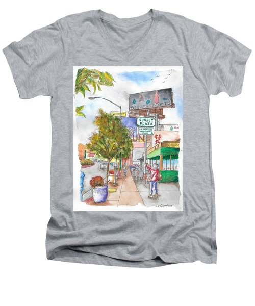 Sunset Plaza, Sunset Blvd., And Londonderry, West Hollywood, California Men's V-Neck T-Shirt by Carlos G Groppa