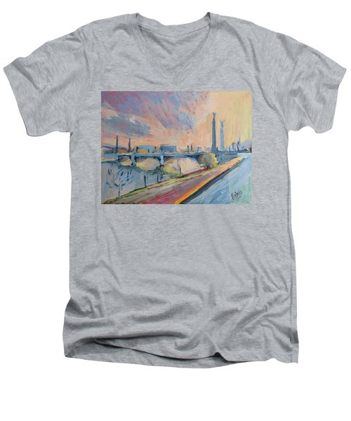 Sunset Pont Fragnee Men's V-Neck T-Shirt by Nop Briex