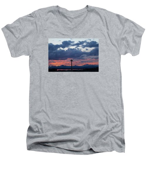 Sunset Red Clouds And Space Needle Men's V-Neck T-Shirt