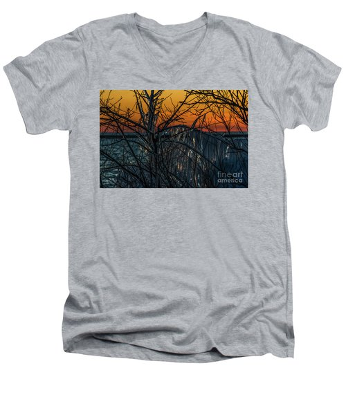 Sunset Reflecting Off Ice On Bare Trees Men's V-Neck T-Shirt