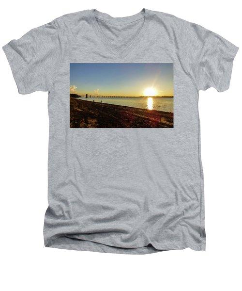 Sunset Reflecting On The Uruguay River Men's V-Neck T-Shirt