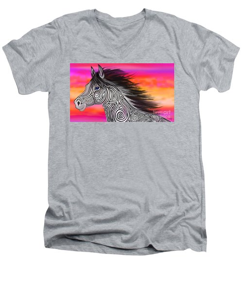 Men's V-Neck T-Shirt featuring the painting Sunset Ride Tribal Horse by Nick Gustafson