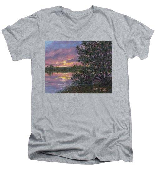 Sunset River # 8 Men's V-Neck T-Shirt by Kathleen McDermott