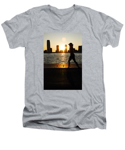 Sunset Runner Men's V-Neck T-Shirt by James Kirkikis