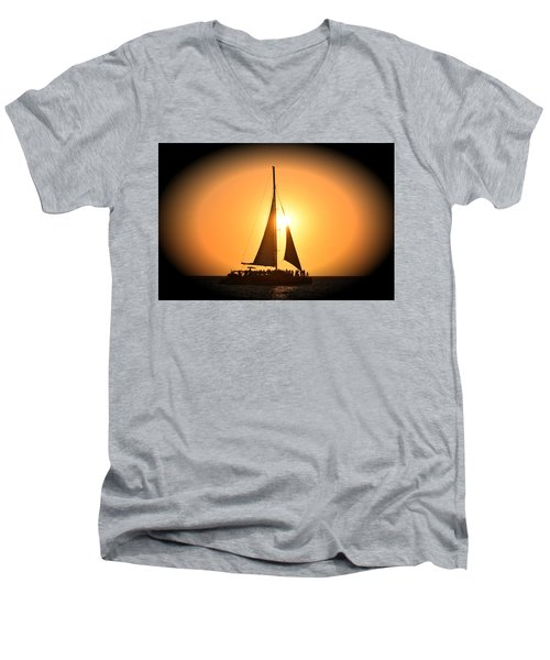 Sunset Sail Men's V-Neck T-Shirt by Gary Smith
