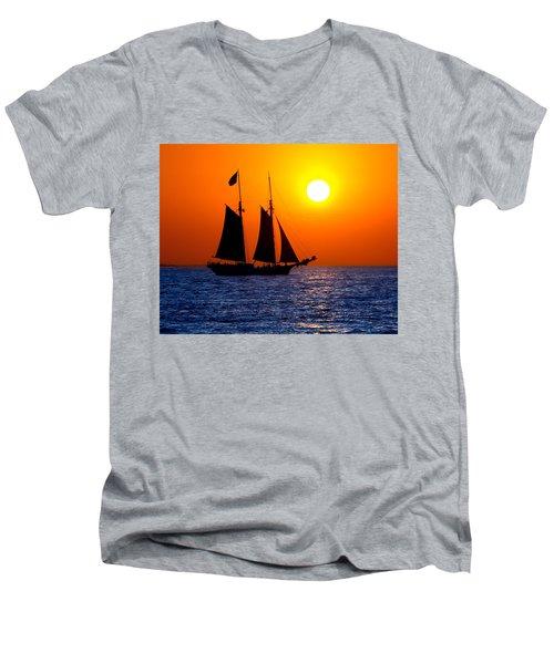 Sunset Sailing In Key West Florida Men's V-Neck T-Shirt by Michael Bessler
