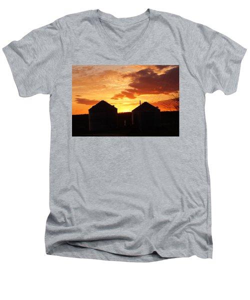 Men's V-Neck T-Shirt featuring the digital art Sunset Silos by Jana Russon