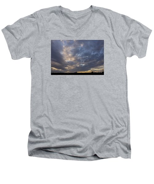 Men's V-Neck T-Shirt featuring the photograph Sunset Sky by Inge Riis McDonald