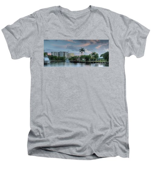 sunset South Florida canal Men's V-Neck T-Shirt