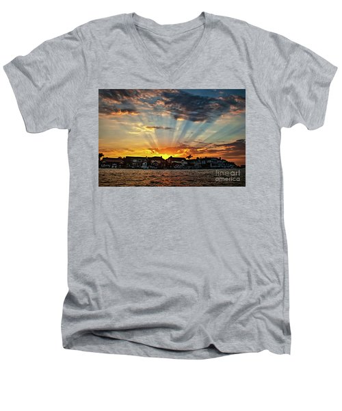 Sunset Sunrays Over Huntington Harbour Men's V-Neck T-Shirt