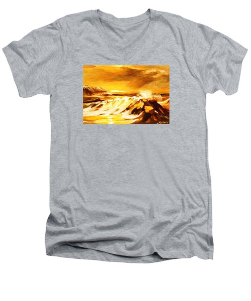 Men's V-Neck T-Shirt featuring the painting Sunset Surf by Al Brown