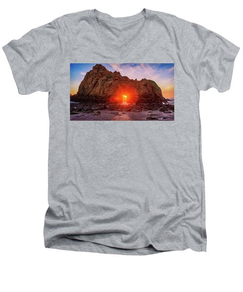 Sunset Through  Men's V-Neck T-Shirt