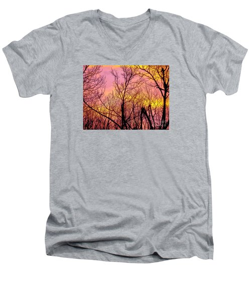 Sunset Through The Trees Men's V-Neck T-Shirt by Craig Walters