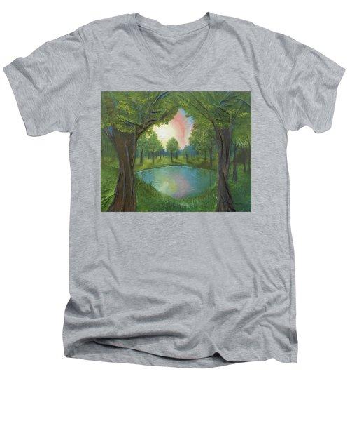 Sunset Through Trees Men's V-Neck T-Shirt by Angela Stout
