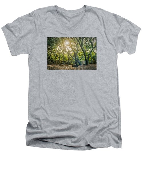 Sunset Thru The Trees Men's V-Neck T-Shirt by Scott Meyer