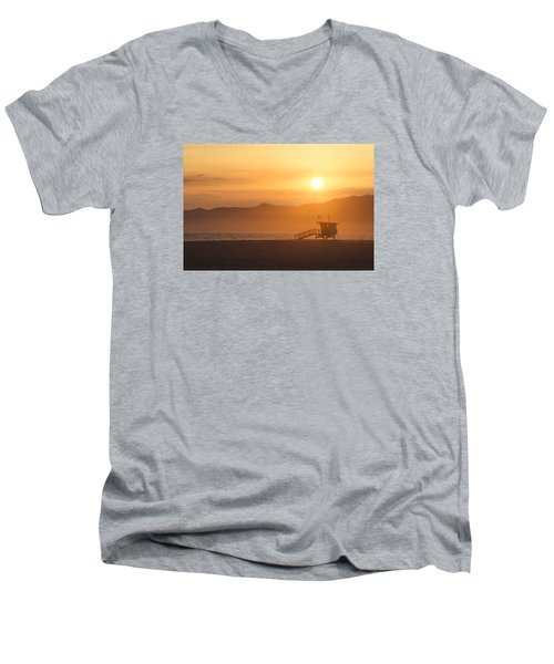 Men's V-Neck T-Shirt featuring the photograph Sunset Venice Beach  by Christina Lihani