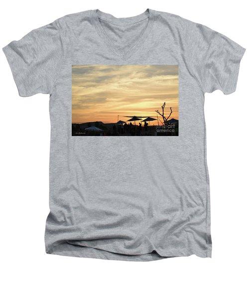 Men's V-Neck T-Shirt featuring the photograph Sunset View by Arik Baltinester
